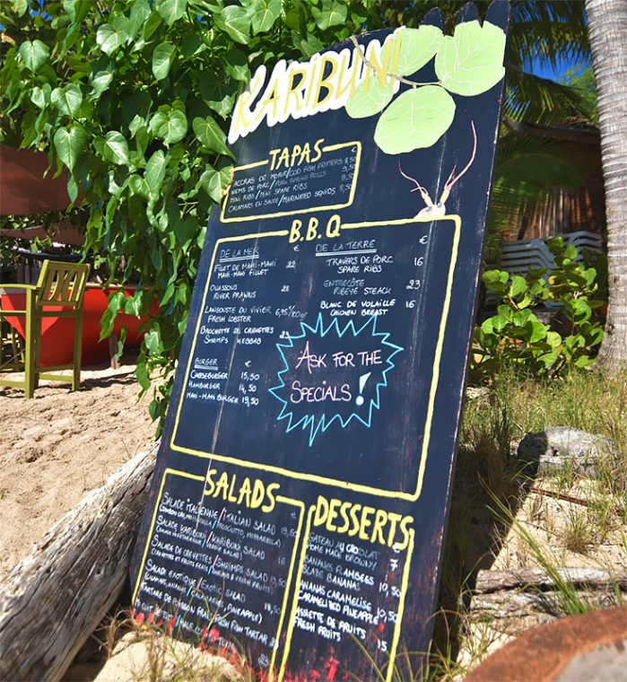 The menu at Karibuni