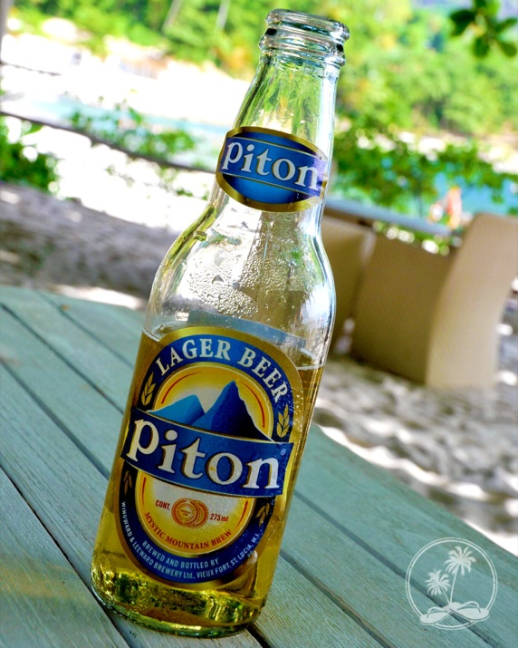 Piton Beer between the Pitons