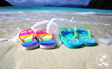 Flip Flops and blue water, Trunk Bay