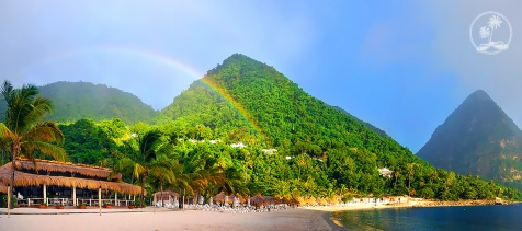 A spectacular rainbow at Sugar Beach