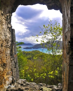Trunk Bay from the Peace Hill Windmill ruins